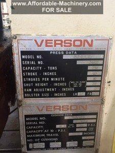 Used Verson 250 Ton OBI For Sale