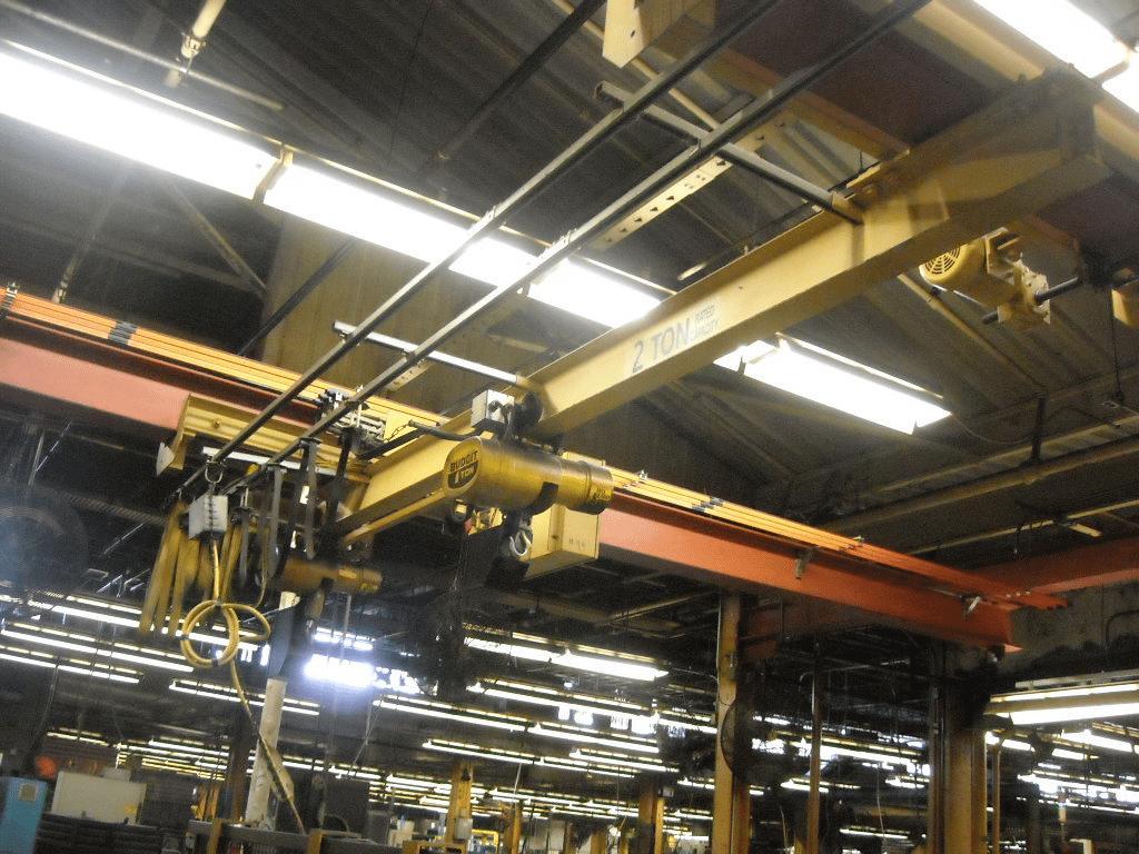 2 Ton Budgit Bridge Crane System (2 one ton hoists) w/uprights and runway