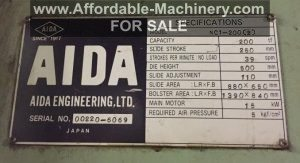 220 Ton Capacity Aida Single Point Gap Press For Sale (5)