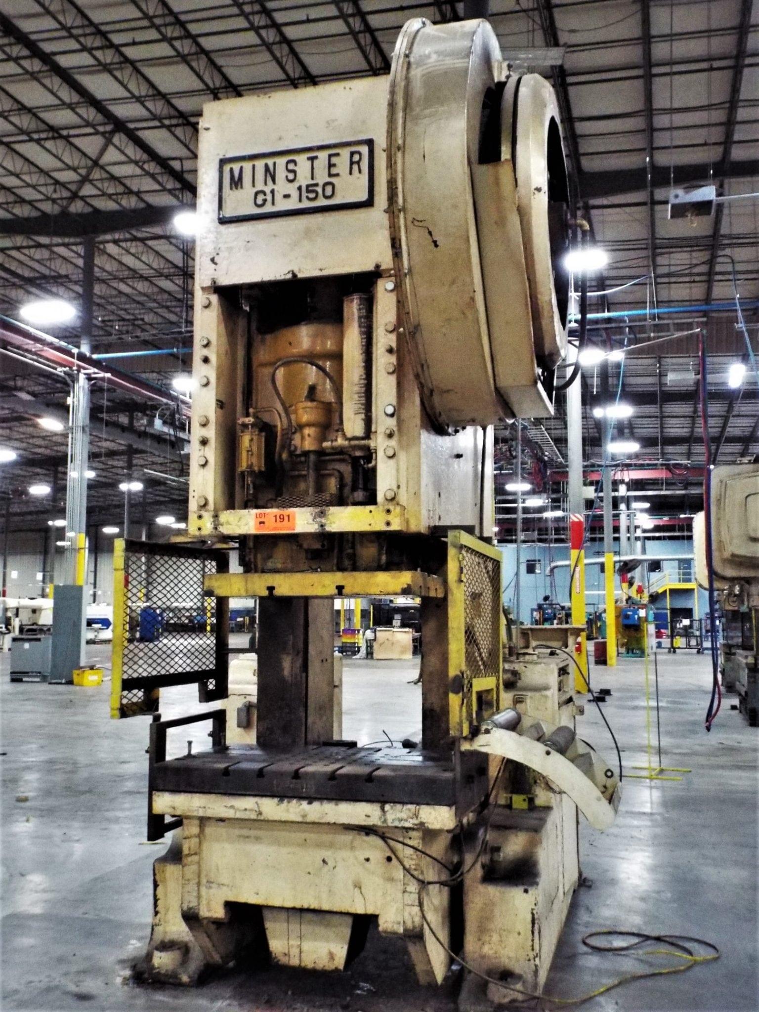 150 Ton Capacity Minster Back-Geared O.B.I. Press For Sale