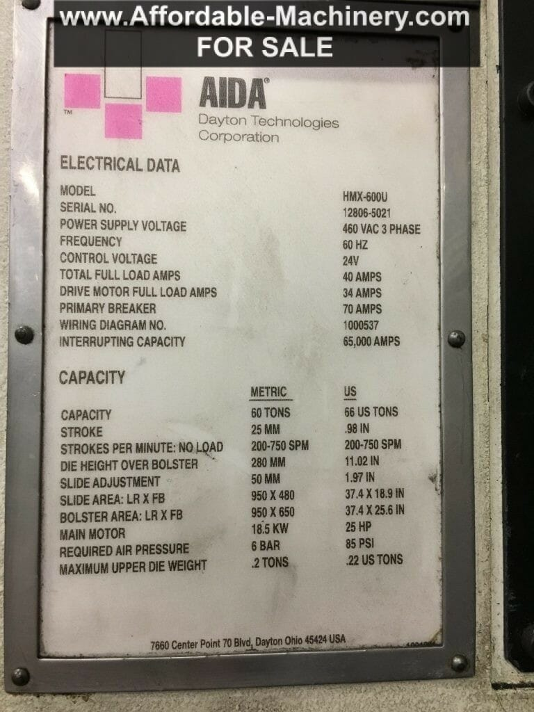 Affordable Machinery The Dealer You Can Afford Wiring Diagram Capacity 66 Ton Aida Press
